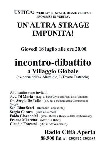 Ustica, un'altra strage impunita!, manifesto
