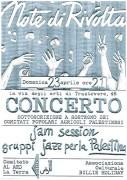 """Concerto """"Note di rivolta"""" per la Palestina, manifesto"""