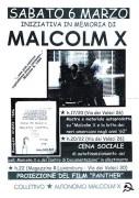 Iniziativa in memoria di Malcom X, manifesto