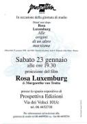 """Proiezione del film """"Rosa Luxemburg"""", manifesto"""