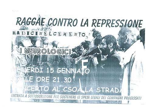 Reggae contro la repressione, manifesto