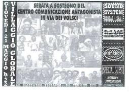 Serata a sostegno del Centro di comunicazione antagonista di via dei Volsci, manifesto