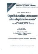 Originalità e attualità del pensiero marxiano nell'era della globalizzazione economica, manifesto