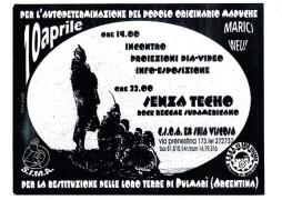 Per l'autodeterminazione del popolo originario mapuche, manifesto