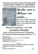 Nell'anniversario dell'assassinio di Giuseppe Pinelli, manifesto