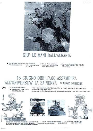 Giù le mani dall'Albania, manifesto
