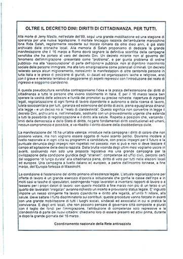 Oltre il decreto Dini: diritti di cittadinanza per tutti, manifesto
