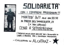 Solidarietà con i compagni prigionieri, manifesto
