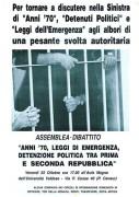 Anni '70, leggi di emergenza, detenzione politica, manifesto