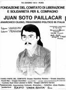 Fondazione del comitato di liberazione e solidarietà per i compagno Juan Soto Paillacar, manifesto
