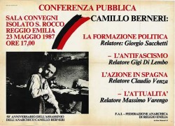 50° anniversario dall'assassinio dell'anarchico Camillo Berneri, manifesto