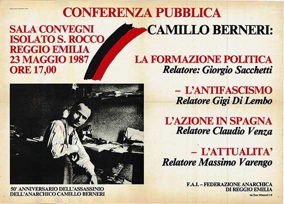 50° anniversario dall'assassinio dell'anarchico Camillo Berneri, manifesto