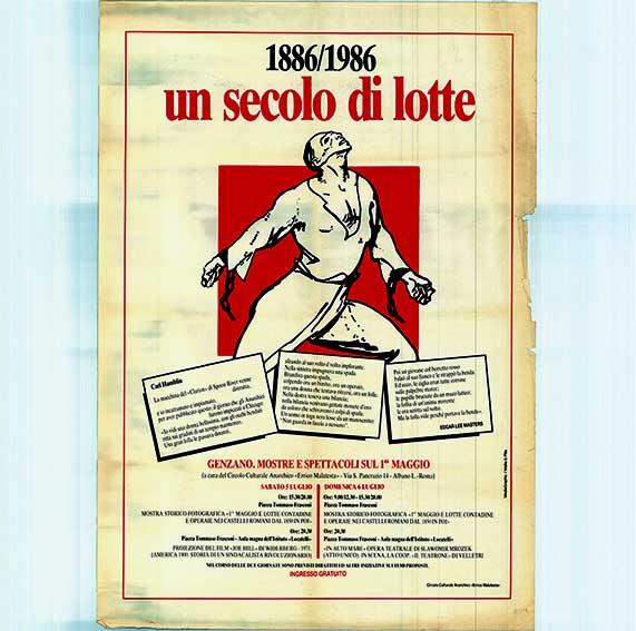 1° Maggio 1886 - 1986, un secolo di lotte, manifesto