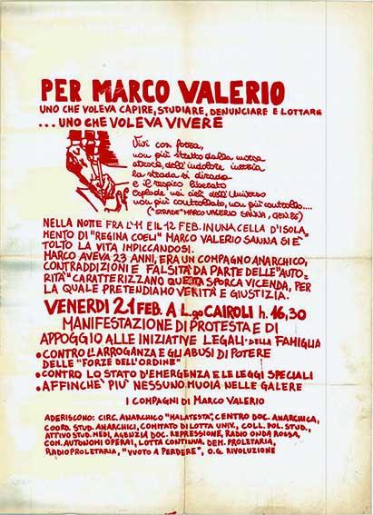 Per Marco Valerio Sanna, manifesto