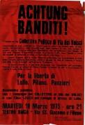 Achtung banditi! Per la libertà di Lolla Pifano Panzieri, manifesto
