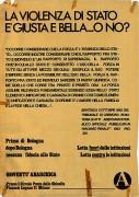 Prima di Bologna, dopo Bologna nessuna fiducia allo stato, manifesto