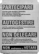 Partecipare autogestire non delegare, manifesto