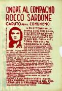 Onore al compagno Rocco Sardone, manifesto