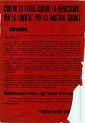Contro lo stato, la repressione, per la libertà e la giustizia sociale, manifesto