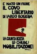 La giunta rossa chiude il covo libertario di Largo Bologna, manifesto