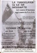 La Yugoslavia ce lo ha insegnato Ieri contro il fascismo Oggi contro la Nato, Manifesto