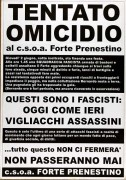 Tentato omicidio al C.S.O.A. Forte Prenestino, Manifesto