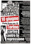 corteo contro la repressione, Manifesto