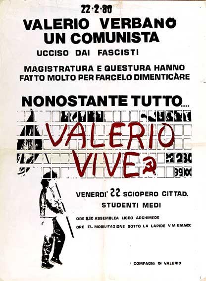 valerio verbano, un comunista ucciso dai fascisti  manifesto