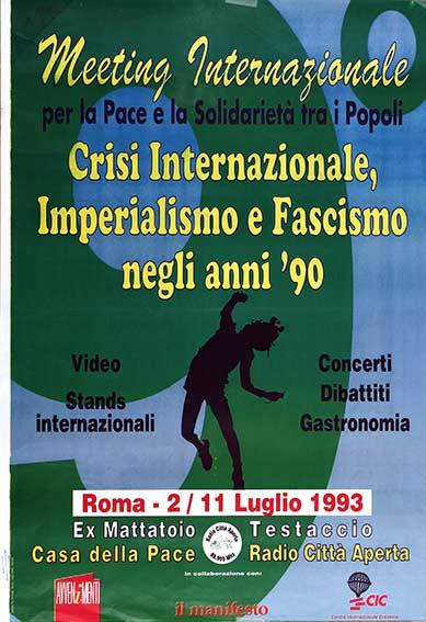 meeting internazionale per la pace e la solidarietà tra i popoli manifesto