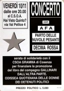 Serata di solidarietà con il C.S.O.A. Gramma di Cosenza manifesto