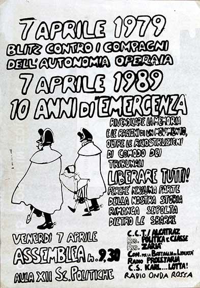 7 Aprile 1979, blitz contro i compagni dell'Autonomia Operaia, manifesto