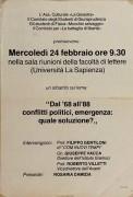 Dal '68 all'88 conflitti politici, emergenza: quale soluzione?, manifesto