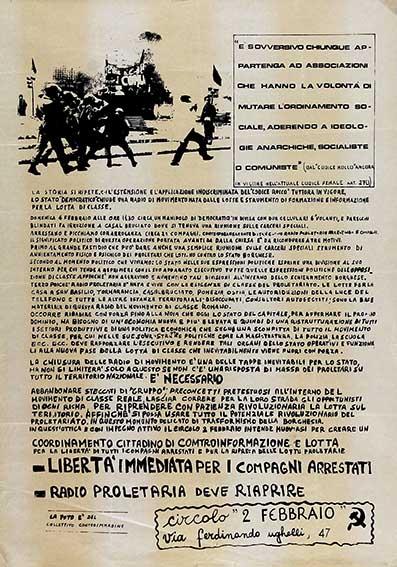 Libertà immediata per i compagni arrestati, manifesto