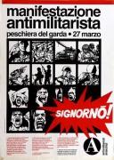 Manifestazione antimilitarista, manifesto