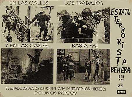Estatu terrorista behera!!!, manifesto