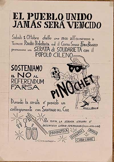 Sosteniamo il no al referendum, falsa solidarietà con il popolo cileno, manifesto