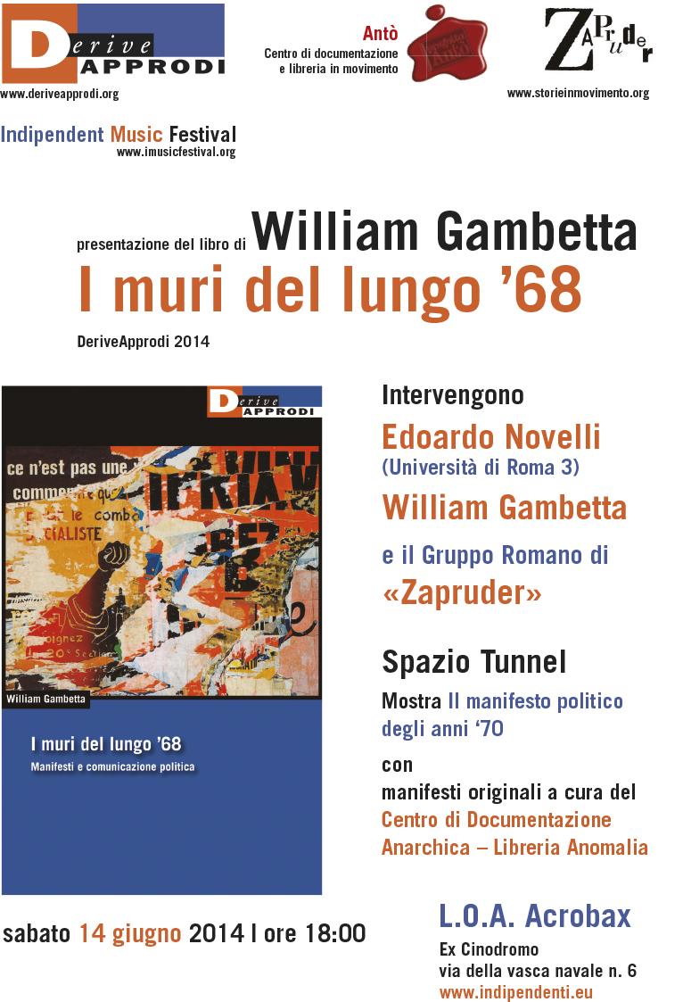 i muri del lungo '68 - locandina presentazione libro