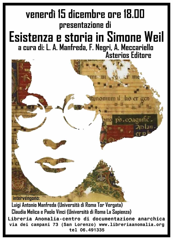 locandina presentazione libro Esistenza e storia di simone Weil