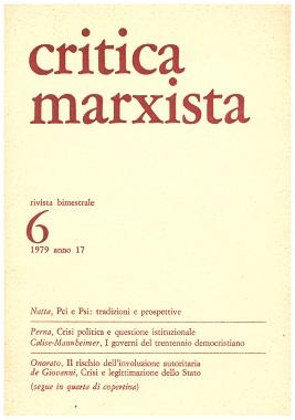 CRITICA MARXISTA. RIVISTA BIMESTRALE 1979 ANNO 17 N°6